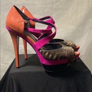 Multi colored high heel shoes